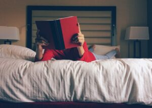 person, reading, bed
